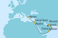 Visitando Dubai (Emiratos Árabes Unidos), Jasab (Omán), Muscat (Omán), Salalah (Omán), Aqaba (Jordania), Canal Suez, Atenas (Grecia)