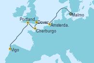 Visitando Malmo (Suecia), Ámsterdam (Holanda), Dover (Inglaterra), Cherburgo (Francia), Portland, Dorset (Reino Unido), Vigo (España)
