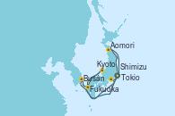 Visitando Tokio (Japón), Shimizu (Japón), Kyoto (Japón), Fukuoka (Japón), Busán (Corea del Sur), Aomori (Japón), Tokio (Japón), Tokio (Japón)