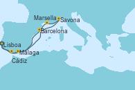 Visitando Lisboa (Portugal), Lisboa (Portugal), Cádiz (España), Barcelona, Savona (Italia), Marsella (Francia), Málaga, Lisboa (Portugal)