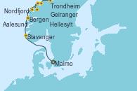 Visitando Malmo (Suecia), Stavanger (Noruega), Bergen (Noruega), Nordfjordeid, Geiranger (Noruega), Hellesylt (Noruega), Aalesund (Noruega), Trondheim (Noruega)