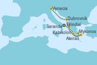 Visitando Brindisi (Italia), Katakolon (Olimpia/Grecia), Mykonos (Grecia), Atenas (Grecia), Sarande (Albania), Dubrovnik (Croacia), Venecia (Italia)