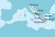Visitando Bari (Italia), Katakolon (Olimpia/Grecia), Santorini (Grecia), Atenas (Grecia), Corfú (Grecia), Kotor (Montenegro), Venecia (Italia)