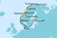 Visitando Kiel (Alemania), Aalesund (Noruega), Honningsvag (Noruega), Tromso (Noruega), Leknes (Noruega), Trondheim (Noruega), Hellesylt (Noruega), Geiranger (Noruega), Bergen (Noruega), Kiel (Alemania)