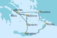 Visitando Atenas (Grecia), Kusadasi (Efeso/Turquía), Rodas (Grecia), Heraklion (Creta), Santorini (Grecia), Santorini (Grecia), Milos (Grecia), Mykonos (Grecia), Mykonos (Grecia), Atenas (Grecia)
