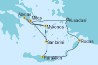 Visitando Kusadasi (Efeso/Turquía), Rodas (Grecia), Heraklion (Creta), Santorini (Grecia), Santorini (Grecia), Milos (Grecia), Mykonos (Grecia), Mykonos (Grecia), Atenas (Grecia), Kusadasi (Efeso/Turquía)