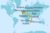 Visitando Barcelona, Marsella (Francia), Génova (Italia), Nápoles (Italia), Catania (Sicilia), Heraklion (Creta), Eilat (Israel), Eilat (Israel), Aqaba (Jordania), Salalah (Omán), Victoria (Seychelles), Victoria (Seychelles), Saint Denis (Isla Reunion), Port Louis (Mauricio), Port Louis (Mauricio)