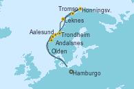 Visitando Hamburgo (Alemania), Aalesund (Noruega), Honningsvag (Noruega), Honningsvag (Noruega), Tromso (Noruega), Leknes (Noruega), Trondheim (Noruega), Andalsnes (Noruega), Olden (Noruega), Hamburgo (Alemania)