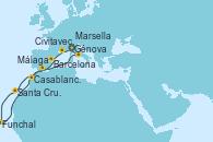 Visitando Génova (Italia), Marsella (Francia), Barcelona, Casablanca (Marruecos), Santa Cruz de Tenerife (España), Funchal (Madeira), Málaga, Civitavecchia (Roma), Génova (Italia)