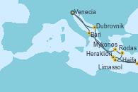 Visitando Venecia (Italia), Bari (Italia), Heraklion (Creta), Haifa (Israel), Haifa (Israel), Limassol (Chipre), Rodas (Grecia), Mykonos (Grecia), Dubrovnik (Croacia), Venecia (Italia)
