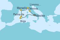 Visitando Nápoles (Italia), Livorno, Pisa y Florencia (Italia), Génova (Italia), Marsella (Francia), Palma de Mallorca (España), Palma de Mallorca (España), Nápoles (Italia)