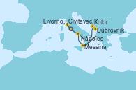Visitando Civitavecchia (Roma), Dubrovnik (Croacia), Kotor (Montenegro), Messina (Sicilia), Nápoles (Italia), Livorno, Pisa y Florencia (Italia), Civitavecchia (Roma)