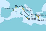 Visitando Barcelona, La Valletta (Malta), Santorini (Grecia), Mykonos (Grecia), Atenas (Grecia), Civitavecchia (Roma), Livorno, Pisa y Florencia (Italia), Marsella (Francia), Barcelona