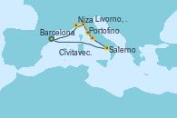 Visitando Barcelona, Niza (Francia), Portofino (Italia), Livorno, Pisa y Florencia (Italia), Civitavecchia (Roma), Salerno (Italia), Barcelona