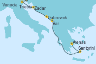 Visitando Trieste (Italia), Venecia (Italia), Zadar (Croacia), Dubrovnik (Croacia), Bar ( Montenegro), Santorini (Grecia), Atenas (Grecia)