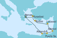 Visitando Atenas (Grecia), Alejandría (Egipto), Puerto Said (Egipto), Ashdod (Israel), Limassol (Chipre), Rodas (Grecia), Kusadasi (Efeso/Turquía), Atenas (Grecia)