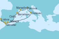 Visitando Génova (Italia), Marsella (Francia), Barcelona, Gibraltar (Inglaterra), Lisboa (Portugal), Cádiz (España), Málaga, Civitavecchia (Roma), Génova (Italia)