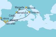 Visitando Marsella (Francia), Barcelona, Gibraltar (Inglaterra), Lisboa (Portugal), Cádiz (España), Málaga, Civitavecchia (Roma), Génova (Italia), Marsella (Francia)