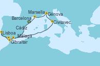 Visitando Barcelona, Gibraltar (Inglaterra), Lisboa (Portugal), Cádiz (España), Málaga, Civitavecchia (Roma), Génova (Italia), Marsella (Francia), Barcelona