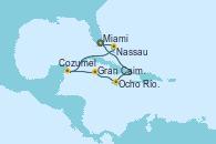 Visitando Miami (Florida/EEUU), Ocho Ríos (Jamaica), Gran Caimán (Islas Caimán), Cozumel (México), Nassau (Bahamas), Miami (Florida/EEUU)