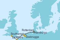 Visitando Hamburgo (Alemania), Le Havre (Francia), Southampton (Inglaterra), Zeebrugge (Bruselas), Rotterdam (Holanda), Rotterdam (Holanda), Hamburgo (Alemania)