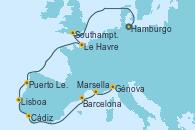 Visitando Hamburgo (Alemania), Southampton (Inglaterra), Le Havre (Francia), Puerto Leixões (Portugal), Lisboa (Portugal), Cádiz (España), Barcelona, Marsella (Francia), Génova (Italia)