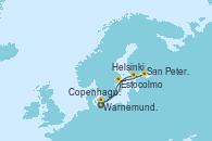 Visitando Warnemunde (Alemania), Estocolmo (Suecia), Helsinki (Finlandia), San Petersburgo (Rusia), Copenhague (Dinamarca), Warnemunde (Alemania)