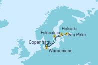 Visitando Copenhague (Dinamarca), Warnemunde (Alemania), Estocolmo (Suecia), Helsinki (Finlandia), San Petersburgo (Rusia), Copenhague (Dinamarca)