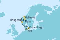 Visitando Kiel (Alemania), Copenhague (Dinamarca), Hellesylt (Noruega), Flam (Noruega), Haugesund (Noruega), Kiel (Alemania)