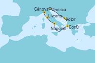 Visitando Venecia (Italia), Kotor (Montenegro), Corfú (Grecia), Nápoles (Italia), Livorno, Pisa y Florencia (Italia), Génova (Italia)