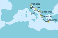 Visitando Ancona (Italia), Venecia (Italia), Split (Croacia), Santorini (Grecia), Sarande (Albania), Dubrovnik (Croacia), Ancona (Italia)