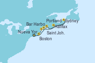 Visitando Nueva York (Estados Unidos), Bar Harbor (Maine), Saint John (New Brunswick/Canadá), Halifax (Canadá), Sydney (Nueva Escocia/Canadá), Portland (Maine/Estados Unidos), Boston (Massachusetts), Nueva York (Estados Unidos)