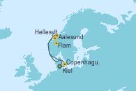 Visitando Kiel (Alemania), Copenhague (Dinamarca), Aalesund (Noruega), Hellesylt (Noruega), Flam (Noruega), Kiel (Alemania)
