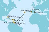 Visitando Valencia, Lisboa (Portugal), Ponta Delgada (Azores), Ponta Delgada (Azores), Bridgetown (Barbados), Fuerte de France (Martinica), Philipsburg (St. Maarten), San Juan (Puerto Rico), San Juan (Puerto Rico), Miami (Florida/EEUU)