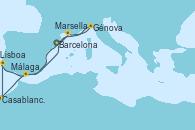 Visitando Barcelona, Marsella (Francia), Génova (Italia), Málaga, Casablanca (Marruecos), Lisboa (Portugal), Barcelona