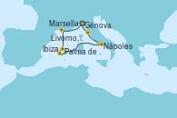 Visitando Génova (Italia), Marsella (Francia), Palma de Mallorca (España), Palma de Mallorca (España), Ibiza (España), Nápoles (Italia), Livorno, Pisa y Florencia (Italia), Génova (Italia)