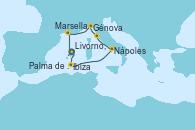 Visitando Palma de Mallorca (España), Palma de Mallorca (España), Ibiza (España), Nápoles (Italia), Livorno, Pisa y Florencia (Italia), Génova (Italia), Marsella (Francia), Palma de Mallorca (España)
