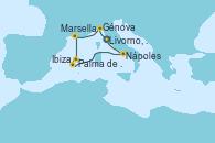 Visitando Livorno, Pisa y Florencia (Italia), Génova (Italia), Marsella (Francia), Palma de Mallorca (España), Palma de Mallorca (España), Ibiza (España), Nápoles (Italia), Livorno, Pisa y Florencia (Italia)