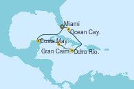 Visitando Miami (Florida/EEUU), Costa Maya (México), Gran Caimán (Islas Caimán), Ocho Ríos (Jamaica), Ocean Cay MSC Marine Reserve (Bahamas), Miami (Florida/EEUU)