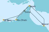 Visitando Dubai (Emiratos Árabes Unidos), Abu Dhabi (Emiratos Árabes Unidos), Sir Bani Yas Is (Emiratos Árabes Unidos), Muscat (Omán), Jasab (Omán), Dubai (Emiratos Árabes Unidos), Dubai (Emiratos Árabes Unidos)