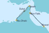 Visitando Dubai (Emiratos Árabes Unidos), Abu Dhabi (Emiratos Árabes Unidos), Khor Fakkan (Emiratos árabes Unidos), Muscat (Omán), Jasab (Omán), Dubai (Emiratos Árabes Unidos), Dubai (Emiratos Árabes Unidos)