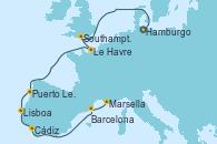 Visitando Hamburgo (Alemania), Southampton (Inglaterra), Le Havre (Francia), Puerto Leixões (Portugal), Lisboa (Portugal), Cádiz (España), Barcelona, Marsella (Francia)