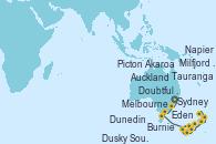 Visitando Sydney (Australia), Eden (Nueva Gales), Melbourne (Australia), Burnie (Tasmania/Australia), Milfjord Sound (Nueva Zelanda), Doubtful Sound (Nueva Zelanda), Dusky Sound (Nueva Zelanda), Dunedin (Nueva Zelanda), Akaroa (Nueva Zelanda), Picton (Australia), Napier (Nueva Zelanda), Tauranga (Nueva Zelanda), Auckland (Nueva Zelanda)