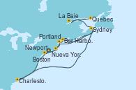 Visitando Nueva York (Estados Unidos), Newport (Rhode Island), Boston (Massachusetts), Portland (Maine/Estados Unidos), Bar Harbor (Maine), Sydney (Nueva Escocia/Canadá), Charleston (Carolina del Sur), La Baie (Canada), Quebec (Canadá), Quebec (Canadá)