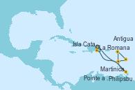 Visitando La Romana (República Dominicana), La Romana (República Dominicana), Isla Catalina (República Dominicana), Philipsburg (St. Maarten), Antigua (Antillas), Martinica (Antillas), Pointe a Pitre (Guadalupe), La Romana (República Dominicana)