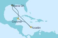 Visitando Nueva Orleans (Luisiana), Cozumel (México), Yucatán (Progreso/México), Nueva Orleans (Luisiana)