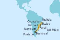 Visitando Buenos aires, Montevideo (Uruguay), Montevideo (Uruguay), Sao Paulo (Brasil), Ilhabela (Brasil), Parati (Brasil), Buzios (Brasil), Río de Janeiro (Brasil), Río de Janeiro (Brasil), Copacabana (Brasil), Copacabana (Brasil), Punta del Este (Uruguay), Buenos aires
