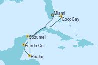 Visitando Miami (Florida/EEUU), Roatán (Honduras), Puerto Costa Maya (México), Cozumel (México), CocoCay (Bahamas), Miami (Florida/EEUU)