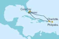 Visitando Puerto Cañaveral (Florida), CocoCay (Bahamas), Charlotte Amalie (St. Thomas), Philipsburg (St. Maarten), Puerto Cañaveral (Florida)