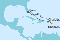 Visitando Miami (Florida/EEUU), Basseterre (Antillas), Charlotte Amalie (St. Thomas), CocoCay (Bahamas), Miami (Florida/EEUU)